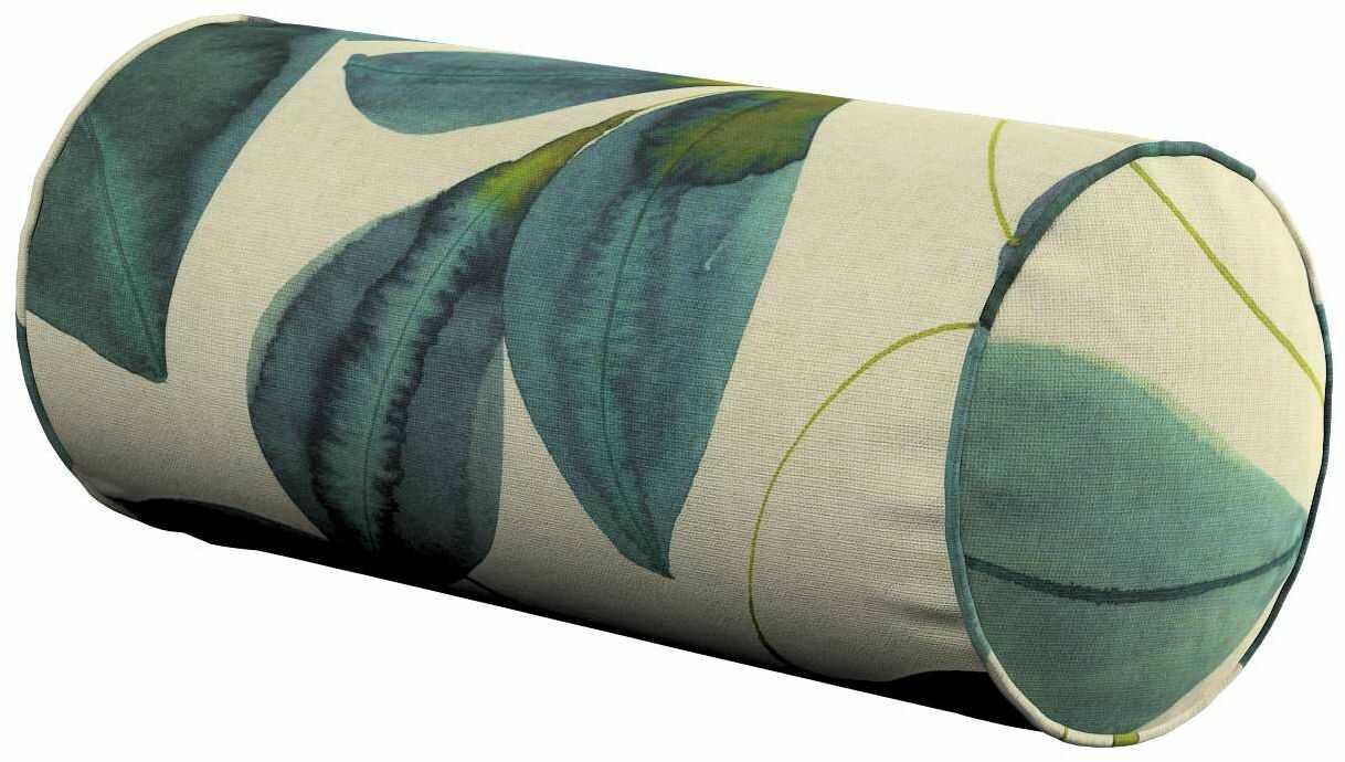 Poduszka wałek prosty, liście w kolorze szmaragdowej zieleni z fioletem na lnianym tle, Ø16  40 cm, Abigail