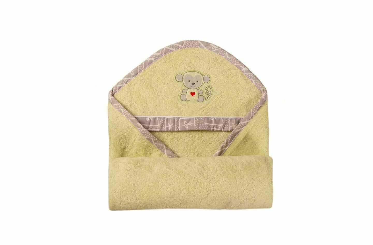 Okrycie kąpielowe niemowlęce 100x100 Bamboo 52 seledynowy ręcznik z kapturkiem