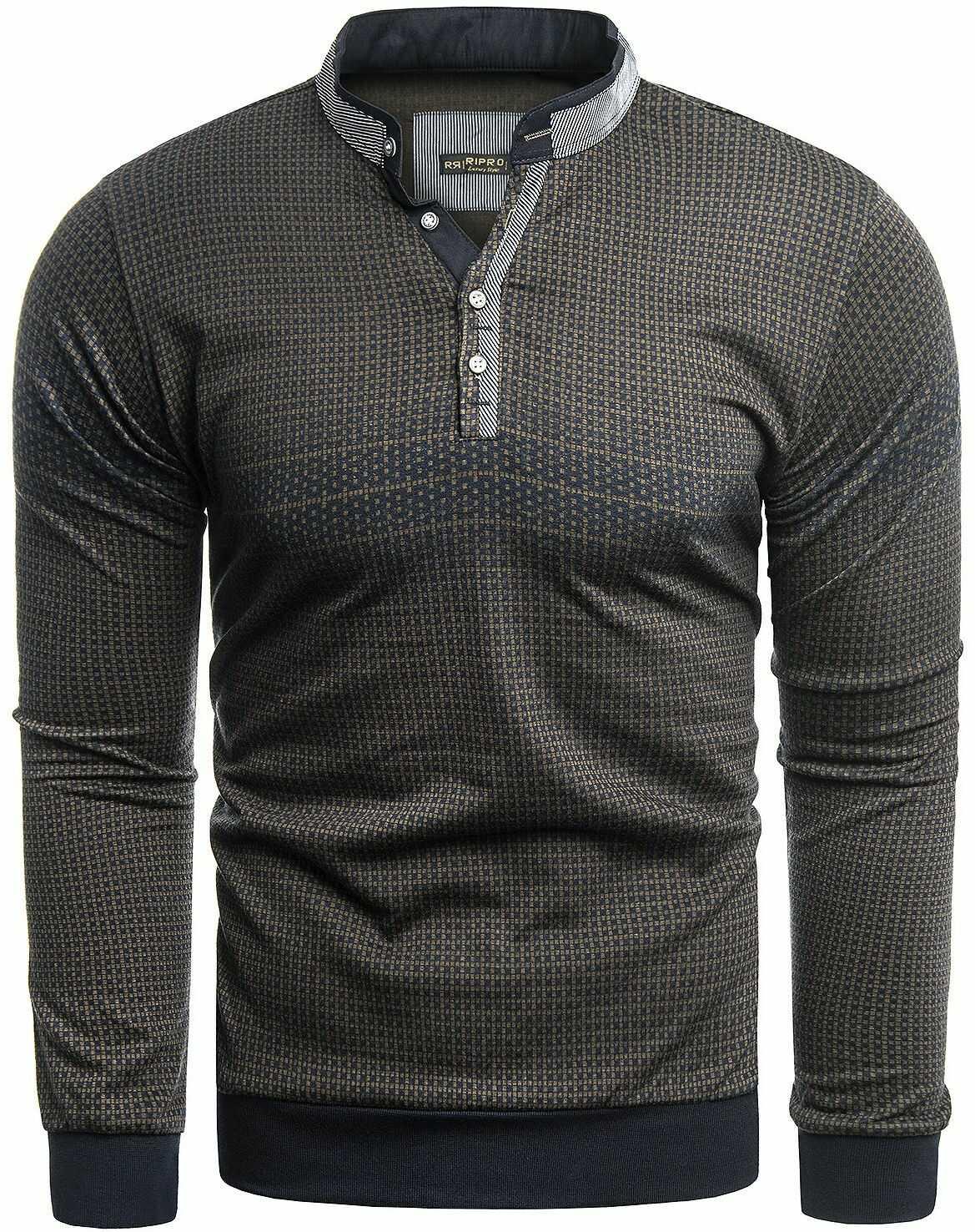 Sweter męski 8055 - czarny/camel