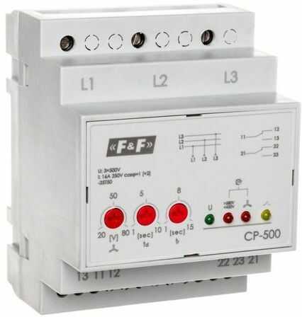 Przekaźnik kontroli napięcia 3-fazowy 2P 2x8A 3x500V 150-210V AC (bez N) CP-500