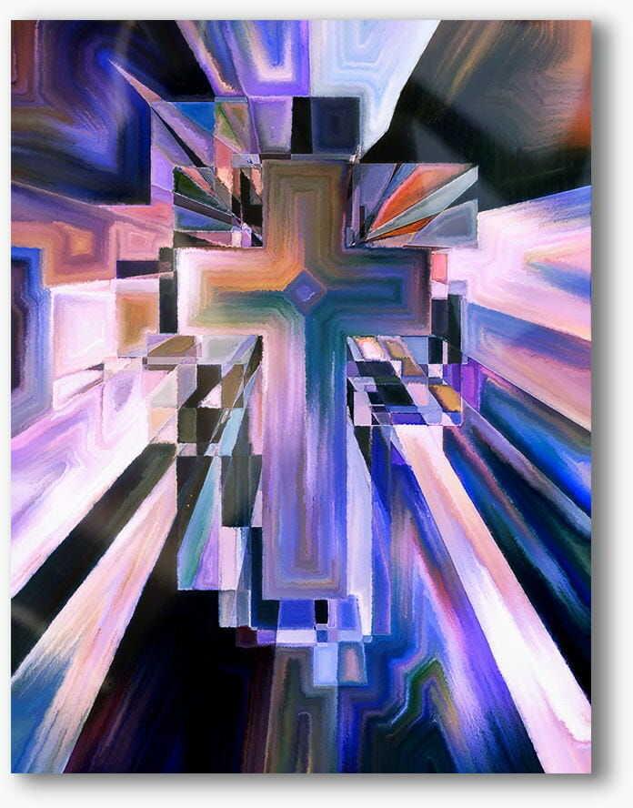 Krzyż, nowoczesny obraz religijny plexi