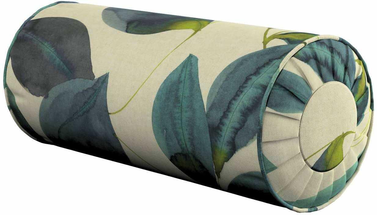 Poduszka wałek z zakładkami, liście w kolorze szmaragdowej zieleni z fioletem na lnianym tle, Ø20  50 cm, Abigail