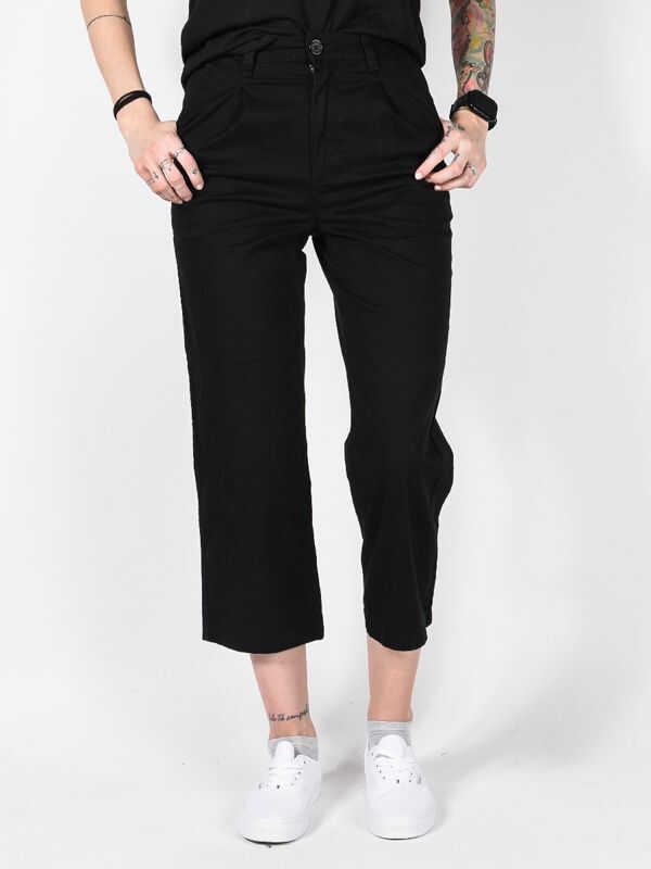 Element OLSEN FLINT BLACK spodnie lniane kobiety - 27