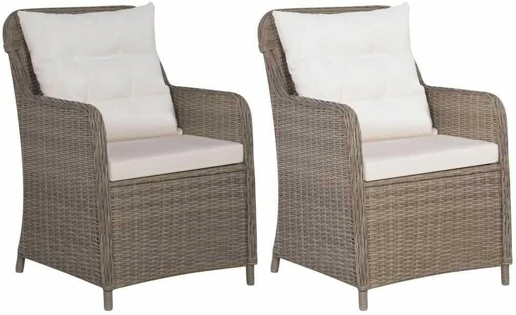 Fotele ogrodowe z polirattanu Grafton 2 szt - brąz