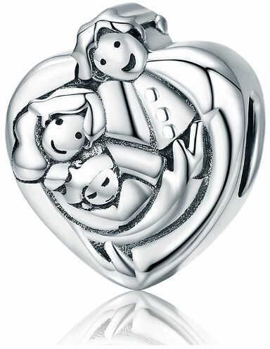 Rodowany srebrny charms do pandora serce szczęśliwa kochająca się rodzina happy family srebro 925 NEW105