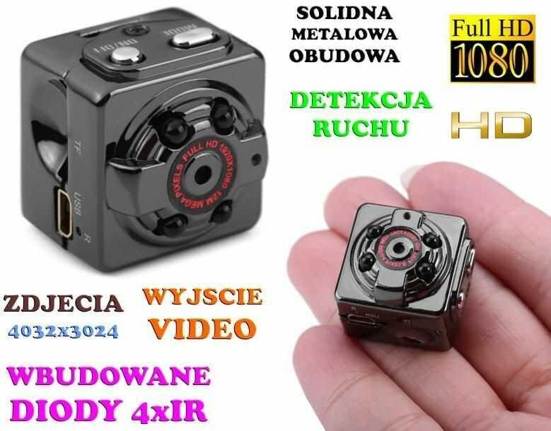 Mini-Kamera (dz-noc), Nagrywająca Obraz HD/Full HD i Dźwięk + Ap. Foto + Detekcja Ruchu + Akcesoria.