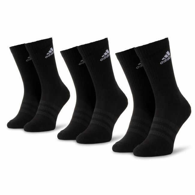 Zestaw 3 par wysokich skarpet unisex adidas - Cush Crw 3Pp DZ9357 Black/Black/White