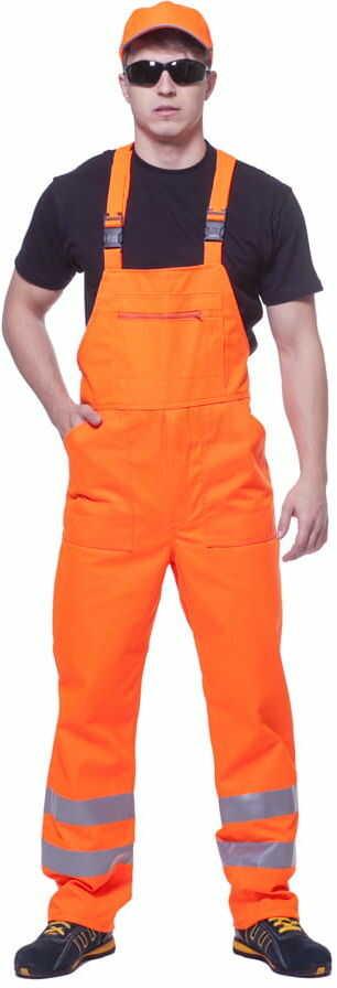 Spodnie robocze ogrodniczki odblaskowe