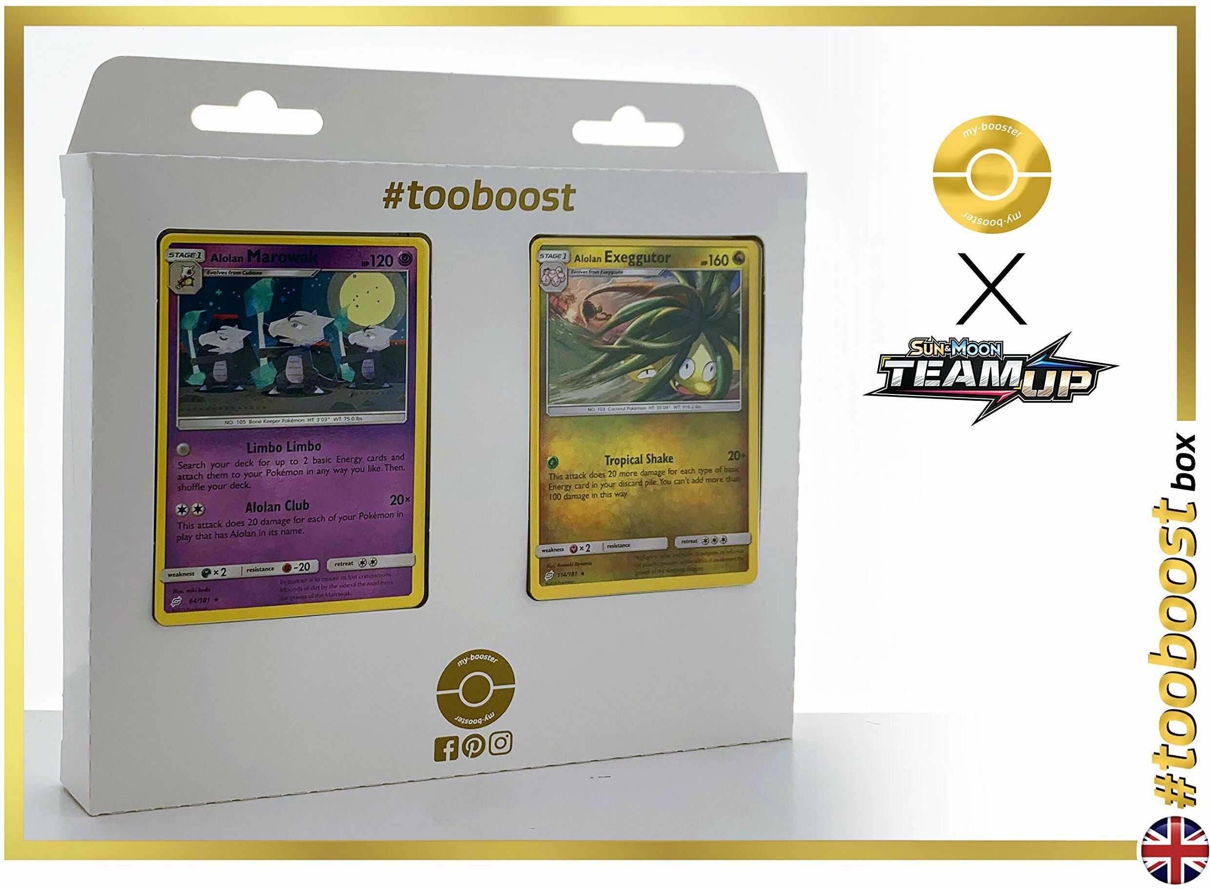 Alolan Marowak (Alola-Knogga) 64/181 & Alolan Exeggutor (Alola-Kokowei) 114/181  #tooboost X Sun & Moon 9 Team Up  pudełko z 10 angielskimi kartami Pokémon + 1 Goodie Pokémon