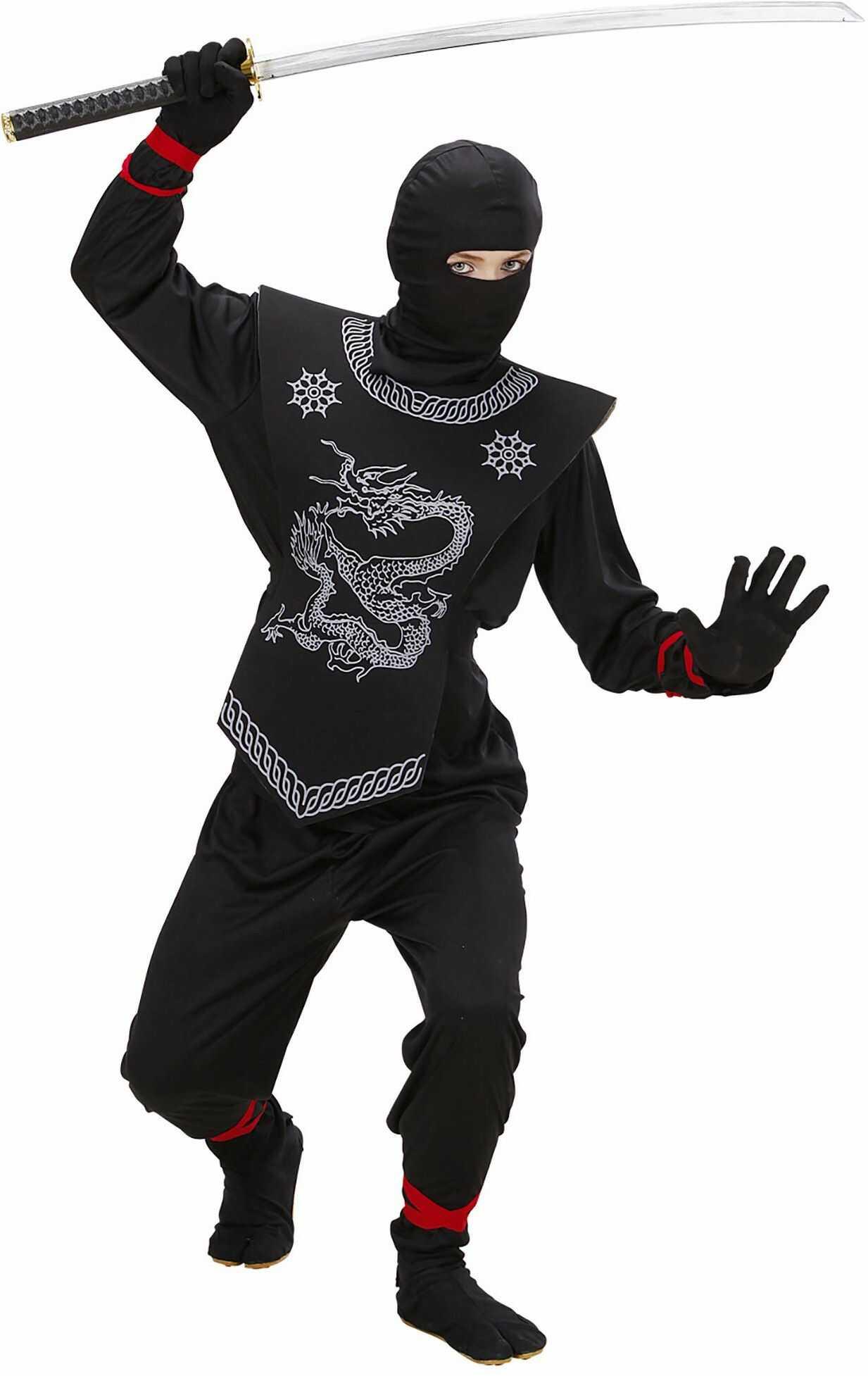 Widmann 74526 Kostium Ninja, Dziecięcy, Czarny, a 128 Cm