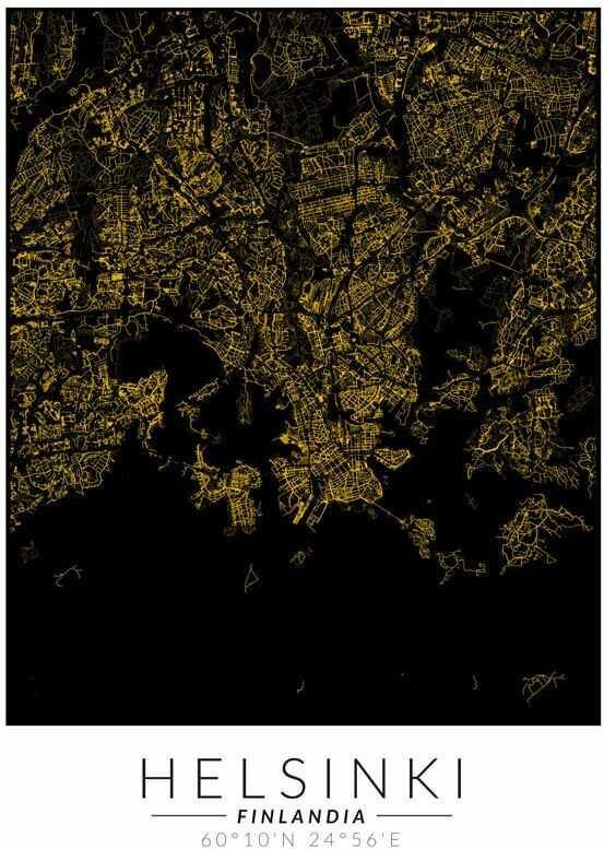 Helsinki złota mapa - plakat wymiar do wyboru: 40x50 cm