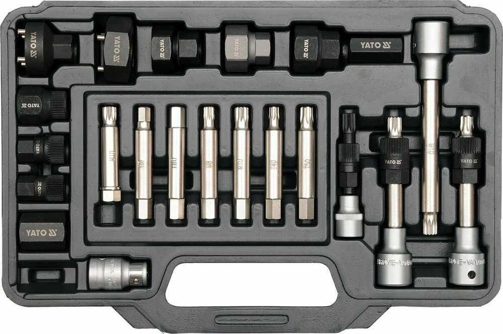 Zestaw kluczy do alternatora ze sprzęgłem 22 części Yato YT-04211 - ZYSKAJ RABAT 30 ZŁ