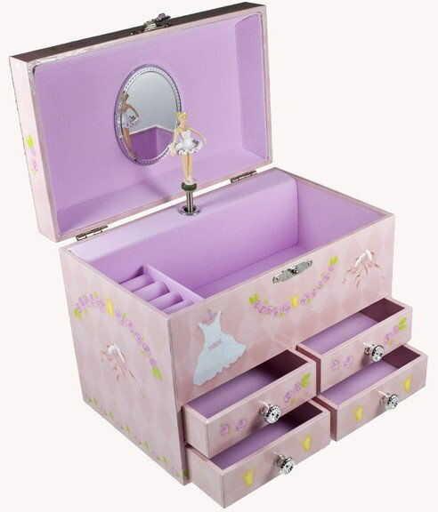 Pudełko na biżuterię z 4 szufladami balerina
