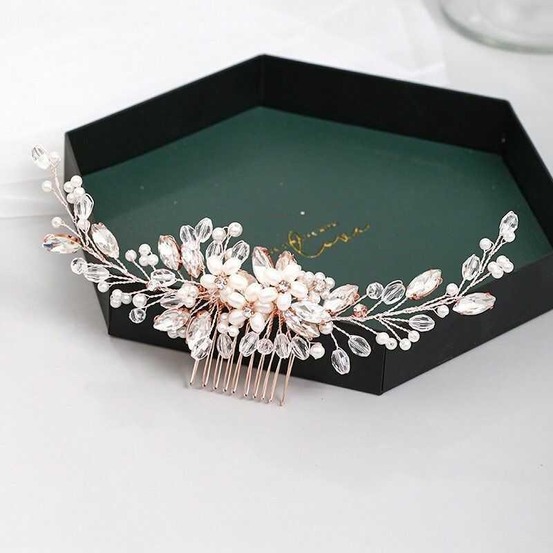 Ozdoba ślubna do włosów grzebyk różowe złoto