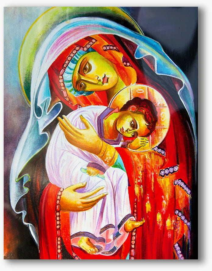 Matka Boża z Dzieciątkiem, nowoczesny abstrakcyjny obraz religijny plexi