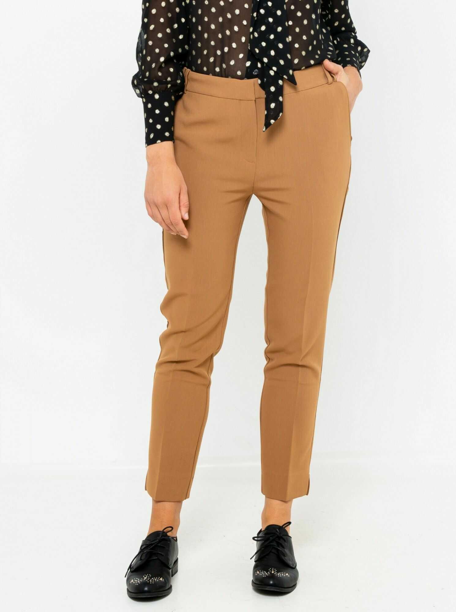 CAMAIEU brązowy skrócone chino spodnie