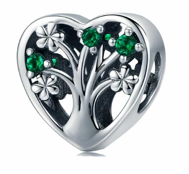 Rodowany srebrny charms pandora serce heart drzewo życia cyrkonie srebro 925 BEAD116