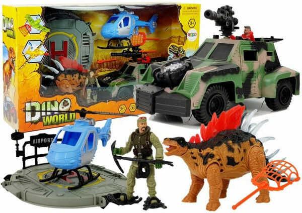 Świat Dinozaurów Zestaw Figurek Pojazd Helikopter Lądowisko Dźwięk