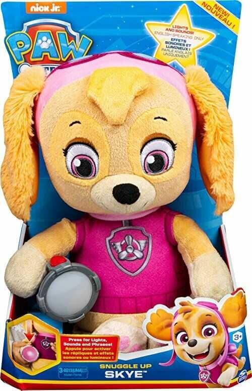 PAW Patrol Pluszowy plusz do wtulania się Skye z pochodnią i dźwiękami, dla dzieci w wieku od 3 lat