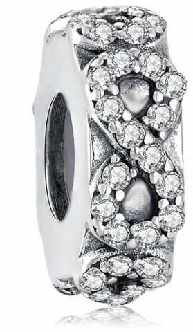 Rodowany srebrny charms do pandora niesończoność infinity cyrkonie srebro 925 NEW40