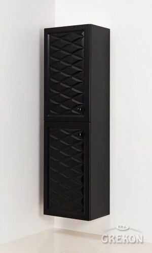 Regał łazienkowy w stylu Glamour czarny mat 45x155cm, Gante Cobra