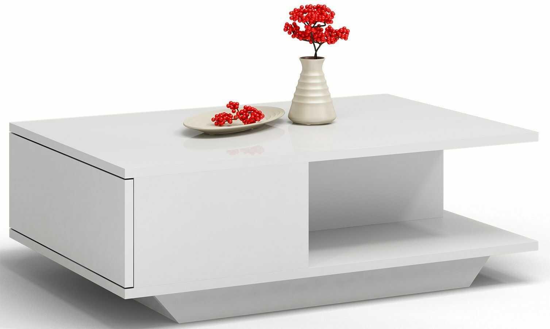 Biała matowa minimalistyczna ława - Sensa