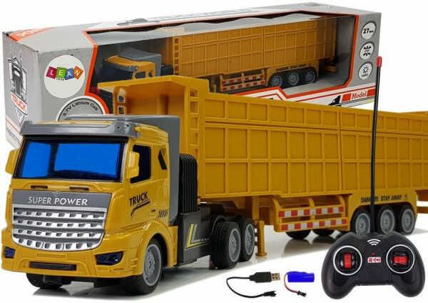 Ciężarówka Z Dużą Przyczepą Zdalnie Sterowana 27 Mhz 1:48 Żółta