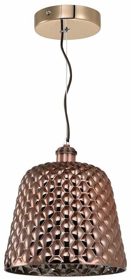 Milagro RIO ML5555 lampa wisząca miedziana metalowa szkło klosz zaokrąglony z ozdobnymi wytłoczeniam 1xE27 25cm