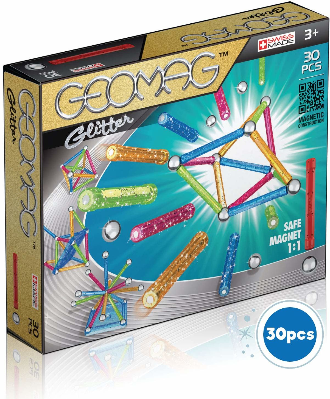 Magnetyczna zabawka konstrukcyjna Geomag Glitter Color, wielokolorowa, 30 sztuk