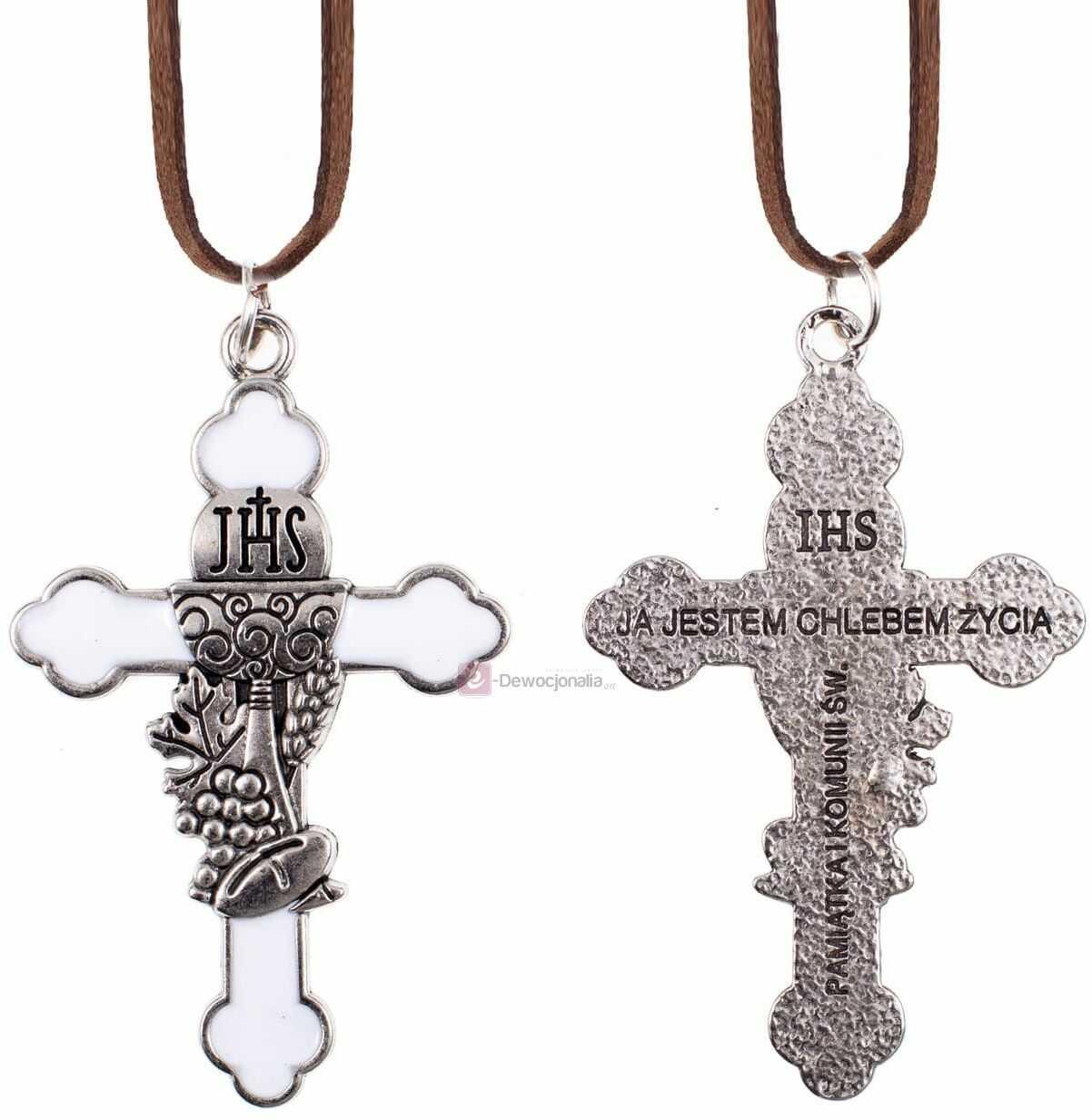Krzyżyk z rzemykiem - Pamiątka I Komunii Świętej - 11cm