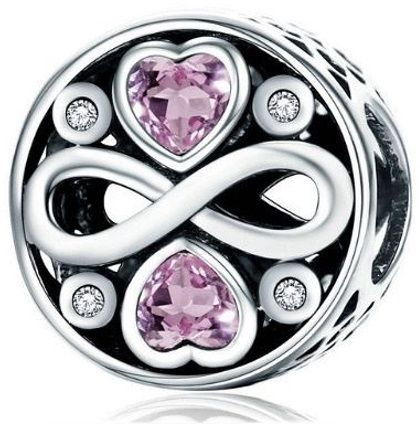 Rodowany srebrny charms do pandora nieskończona miłość infinity love cyrkonie srebro 925 BEAD0710RH