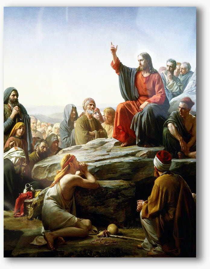 Nauczanie na górze, nowoczesny obraz religijny plexi