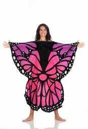 Kanguru Butterfly koc, poliester, różowy, niebieski, czarny, dla dorosłych 130 x 130 cm