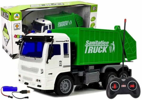 Ciężarówka Śmieciarka Zdalnie Sterowana 1:30 27 Mhz Światła