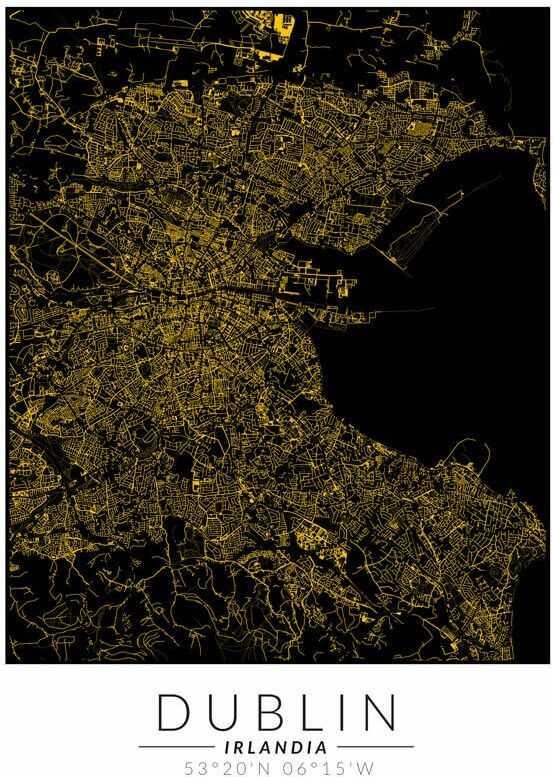 Dublin złota mapa - plakat wymiar do wyboru: 30x40 cm