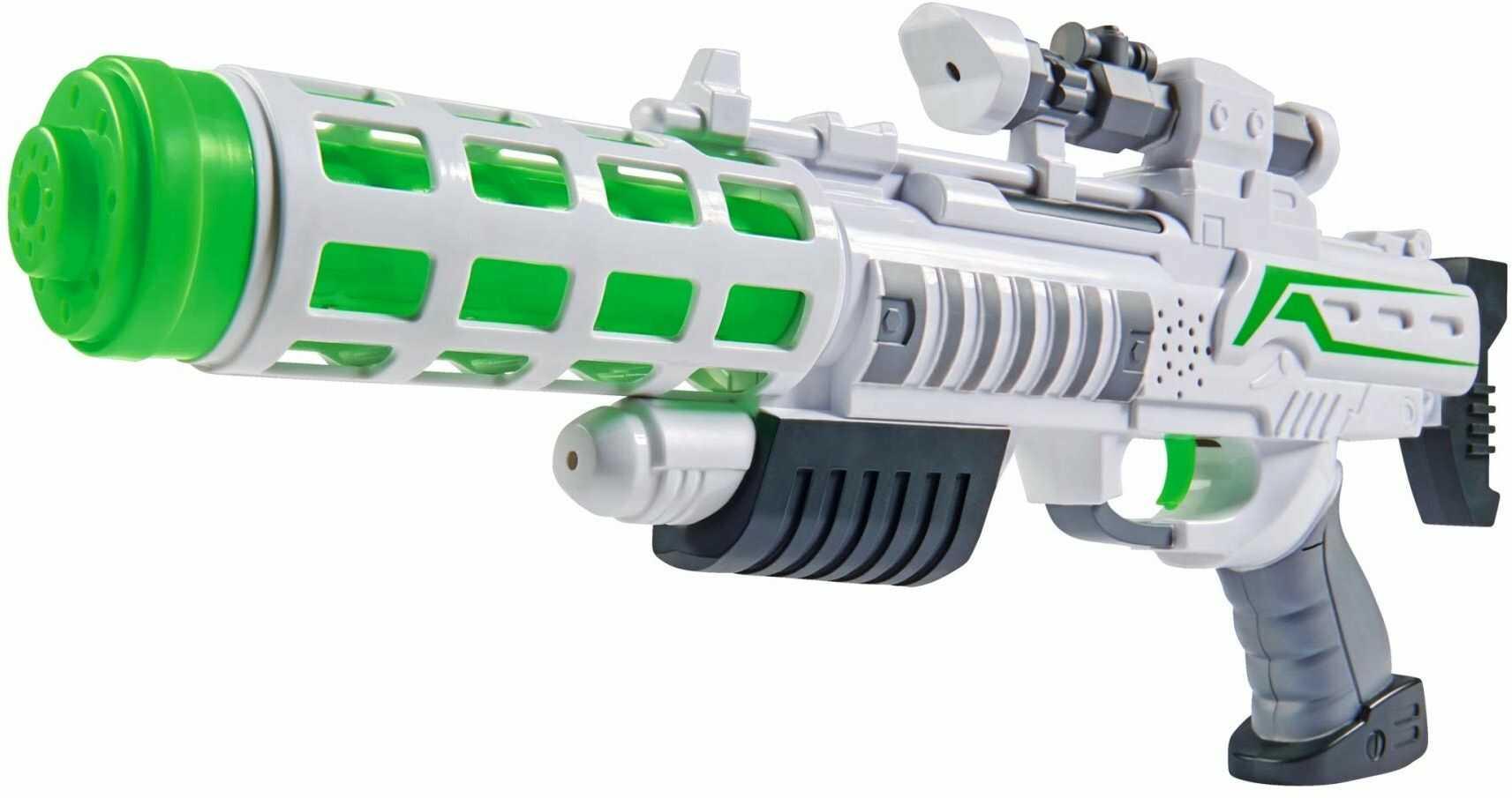 Simba 108046945 Planet Fighter Laser Cool Futurystyczny pistolet Ray Gun z efektami świetlnymi i dźwiękowymi Rozmiar karabinu: 44 cm Wiek 3+