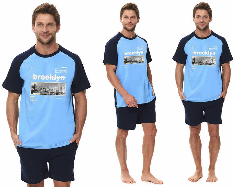 Piżama męska CEZARY: błękit/granat