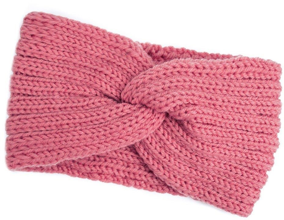 Opaska do włosów zimowa turban róż węzeł