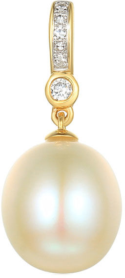 Złota przywieszka 585 z perłą i brylantami diamenty