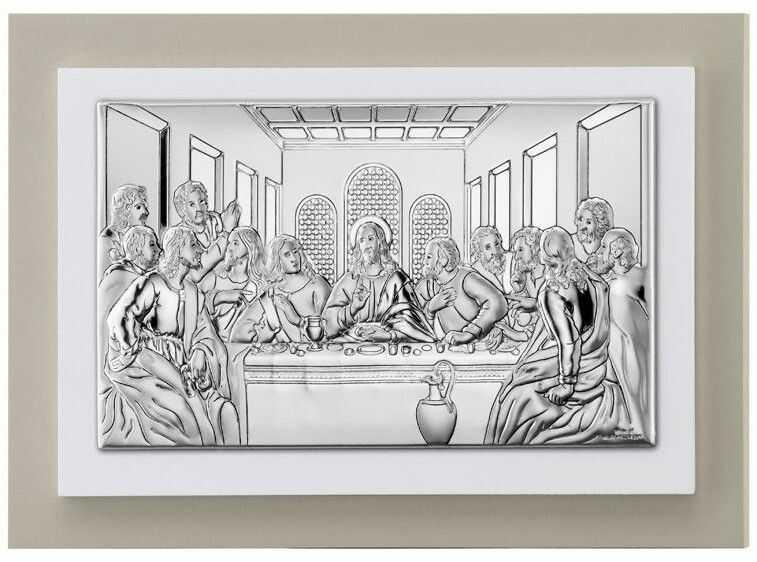 Obrazek Ostatnia Wieczerza na podwójnym drewnie Rozmiar: 11x6.5 cm SKU: VTP81221/3LGW