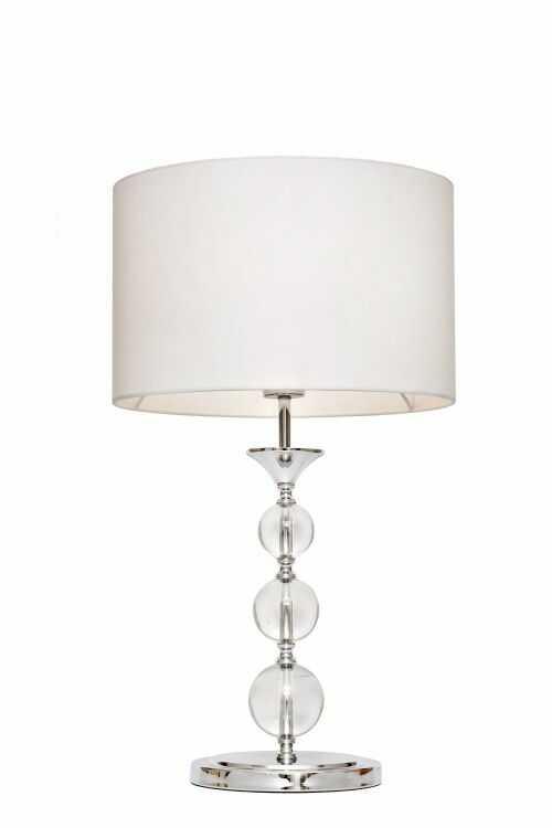 ŻARÓWKA LED GRATIS! Lampa stołowa Rea RLT93163-1W Zuma Line nowoczesna lampa kryształowa w kolorze białym