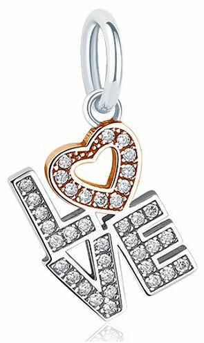 Rodowany srebrny wiszący charms do pandora love miłość serce heart cyrkonie srebro 925 DZ010RH+RG