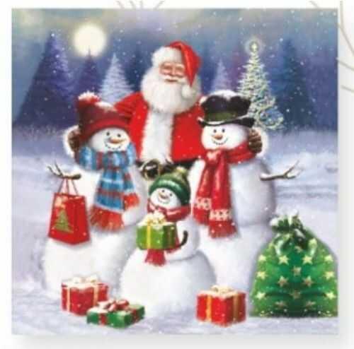 Niebieskie Serwetki Świąteczne, Mikołaj z bałwankami