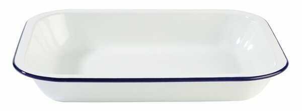 Miska emaliowana biało-niebieska 1,9L 280x230x(H)45mm