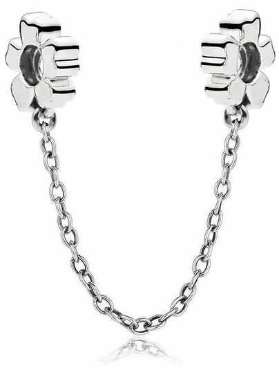 Rodowany srebrny podwójny wiszący charms do pandora chain kwiatek flower srebro 925 SAFETYCHAIN30