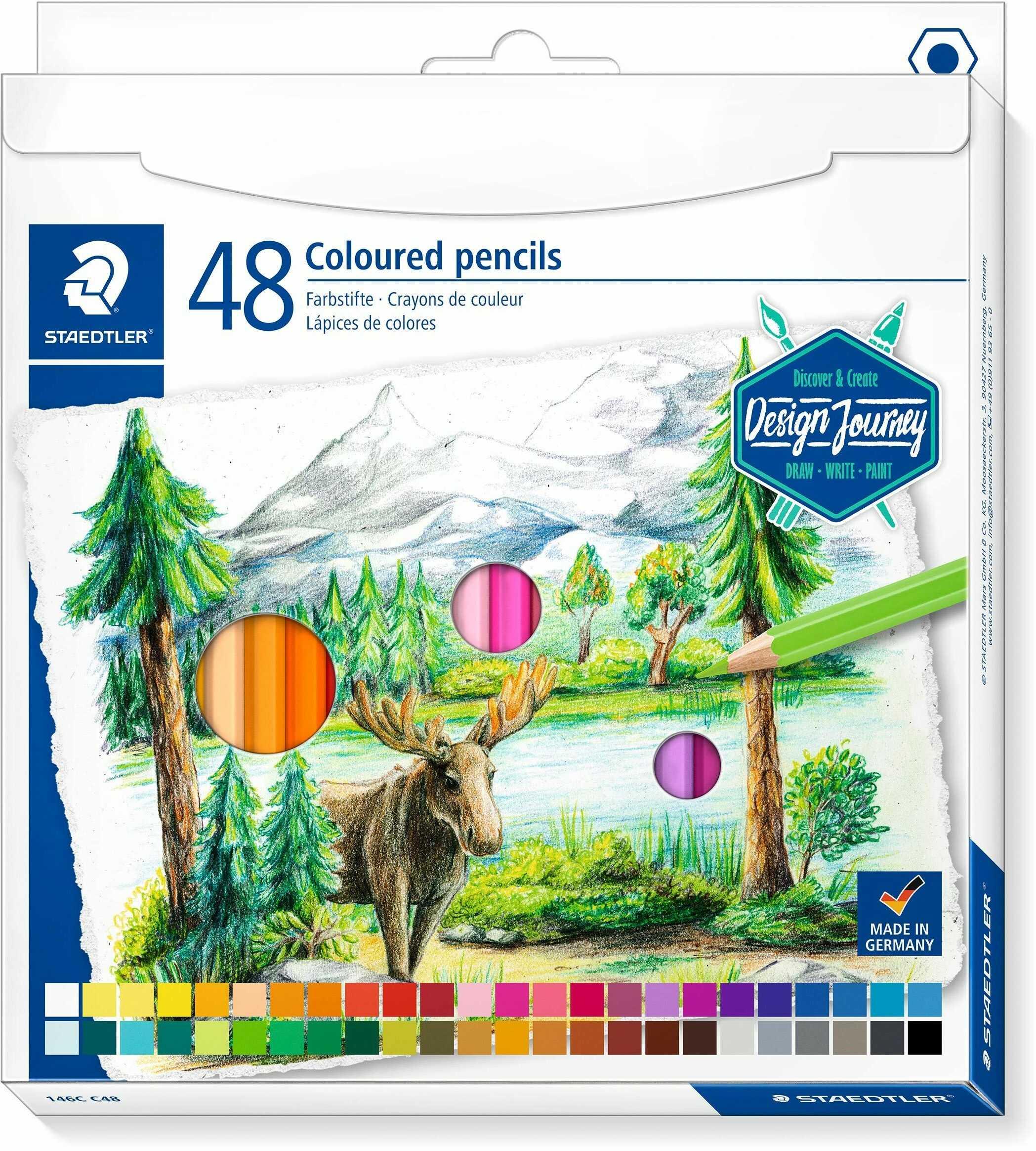 STAEDTLER 146 C48 kredki (klasyczny sześciokątny format, miękki wkład, wysoko pigmentowane kolory), kartonowe etui z 48 kredek w jaskrawych kolorach