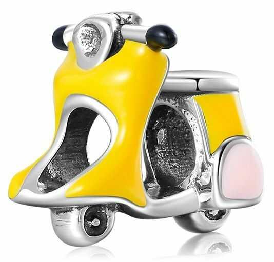 Rodowany srebrny charms do pandora żółty skuter scooter srebro 925 NEW55