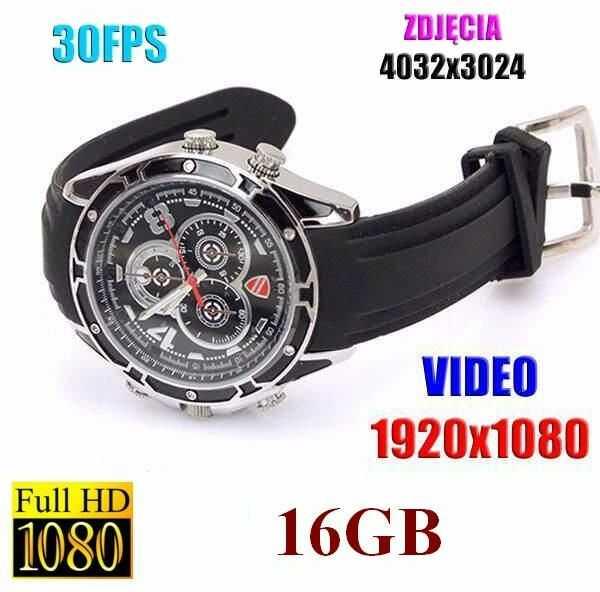 Szpiegowski Zegarek na Rękę FULL HD (16GB), Nagrywający Obraz/Dźwięk + Ap. Foto + Detekcja Dźwięku..