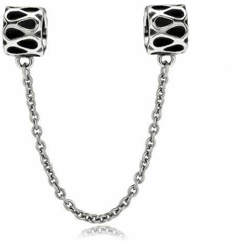Rodowany srebrny podwójny wiszący charms do pandora chain nieskończoność infinity srebro 925 SAFETYCHAIN16