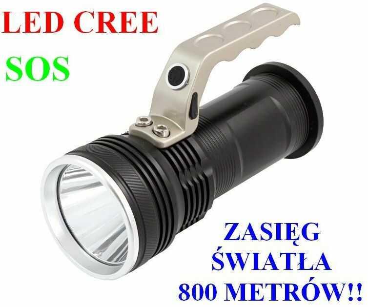 Profesjonalna Akumulatorowa POLICYJNA Latarka Szperacz (zasięg 800m!!) LED CREE + Stroboskop + SOS..
